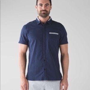 Lululemon men's dark navy button down shirt